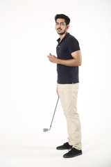 Handsome boy standing with holding golf stick and golf ball. Isolated on white background.