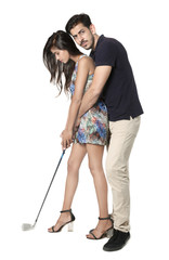 Young boy and girl holding golf stick in picture. Isolated on white background