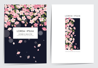 Wall Mural - Vector illustration of a beautiful floral frame set with cherry blossom in spring for Wedding, anniversary, birthday and party. Design for banner, poster, card, invitation and scrapbook