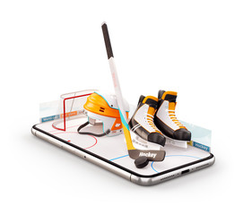 Unusual 3d illustration of hockey equipment on an ice rink on a smartphone screen. Watching hockey and betting online concept.