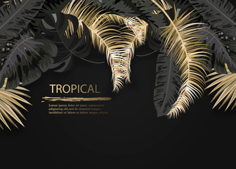Vector arrangement with black and gold tropical leaves on dark background. Luxury exotic botanical design for cosmetics, spa, perfume, aroma, beauty salon. Wall mural