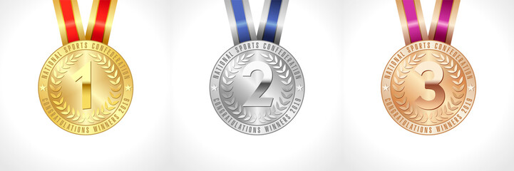 Medals set gold, silver and bronze. Coloured victory symbols. Celebrating congratulating 1 st, 2 nd 3 rd colored collection of star vector signs 2019 Isolated abstract nominee graphic design template.