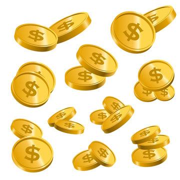 コインやメダルなどの硬貨のイラスト-ポイントや富のイメージ白背景