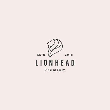 lion head logo vector icon illustration line outline monoline