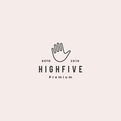 high 5 five hand gesture icon logo vector line outline monoline illustration