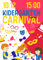 Creative kids banner vector illustration. Kindergarten carnival. Girls and boys drawing, painting, cutting paper, sketching. Education and enjoyment concept. Colorful pencils, watercolor.