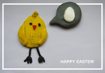 Happy Easter, postcard, creative post on social media. Plasticine cute chicken.