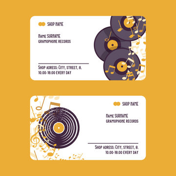 Musical accessories set of business cards vector illustration. Music concept with vinyl records, notes. Playing instrument. Live music event. Advertisement. Shop contacts.