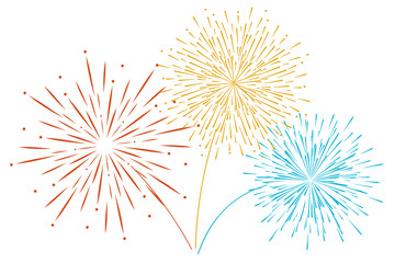 Vector Festive new year's Golden fireworks isolated on a white background.