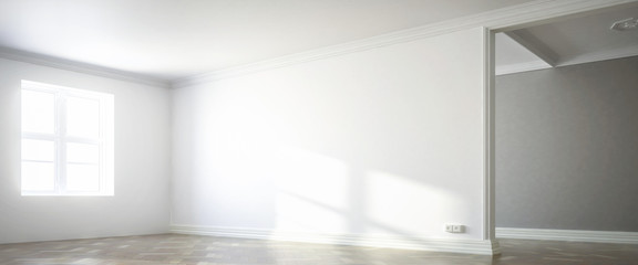 White wall inside a sunny apartmet with a window (panoramic) - 3d visualization Wall mural