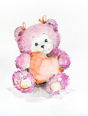 Happy Valentine's day, Cute Teddy bear holding heart, Love Background. Watercolors painting...