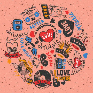 Love music round pattern vector illustration. Let your heart sing. Music make everything better. Love music. Cassette tape. Heart with headphones. Electric guitars. Listening to songs.