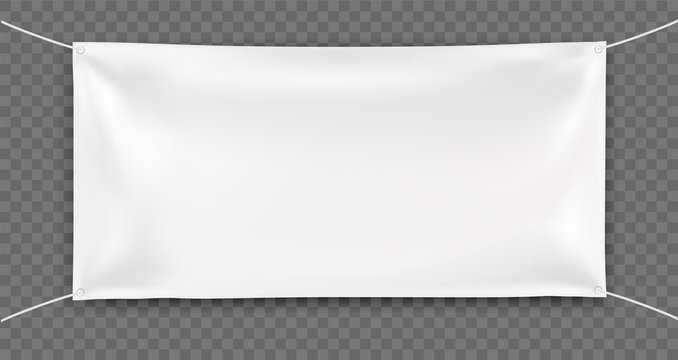 3d realistic Empty rectangular Horizontal Banner with 4 holes and ropes. Vector template on  transparent background for Your Design and Advertising. Awning, Textiles, PVC, Vinyl, Nylon, Banner ect.
