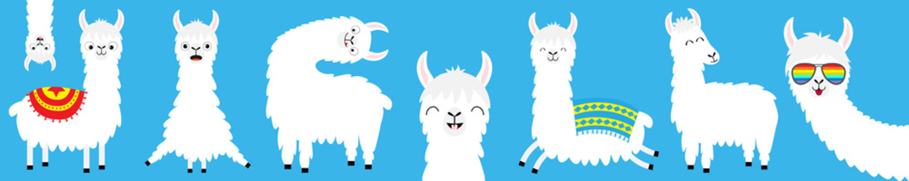 Llama alpaca big line set. Face glassess. Baby collection. Cute cartoon kawaii funny character. Fluffy hair fur. T-shirt, greeting card, poster template print. Flat design. Blue background.