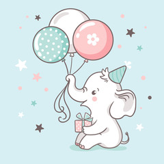 Cute white baby elephant holds a trunk of balloons. Baby shower invitation card.
