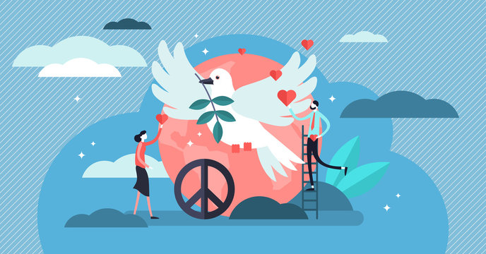 Peace vector illustration. Flat tiny love, calm and harmony persons concept