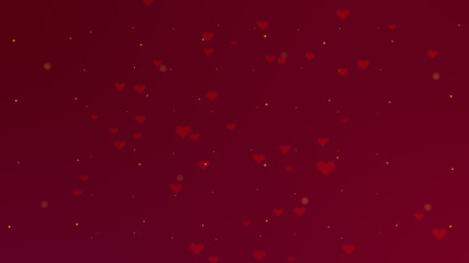 Love background with red hearts for Valentine's Day. Red backgrop.