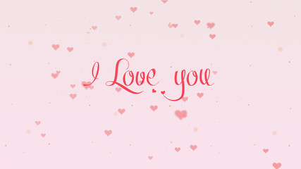 I love you Love confession. Valentine's Day lettering is isolated on light pink background, which is bedecked with little cute rose colored hearts. Share love.