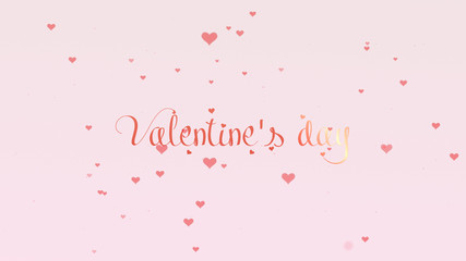 Valentine's Day lettering. Love background with pink little cute hearts for Valentine's Day. Light pink backgrop. Rose pink inscription.