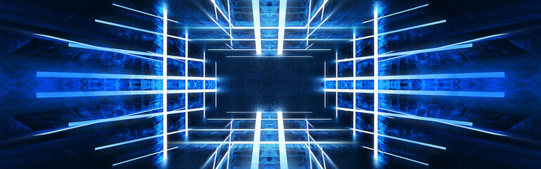 Abstract tunnel, corridor with rays of blue and pink light and neon highlights. Abstract blue and pink background, neon. Empty dark room with rays and lines. Brick walls, concrete floor. Night view. 3