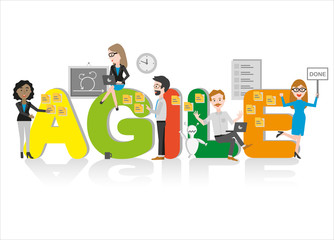 Business People working as an agile team