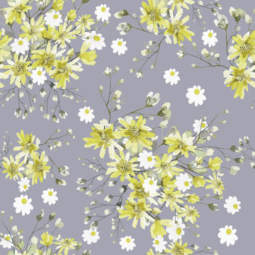 Seamless pattern with leaves and yellow flowers. Floral design on a grey background. Watercolor illustration. The original pattern for fabric and Wallpapers.