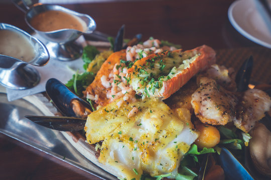 Icelandic seafood plate cuisine made of lobster fish and mussells. Iceland national food.