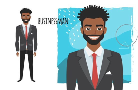 black african american businessman with beard in formal suit. Full length portrait of Cartoon Businessman. Character for rigging and animation