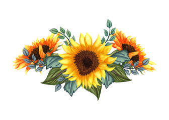 Beautiful floral collection with sunflowers,leaves,branches,fern leaves