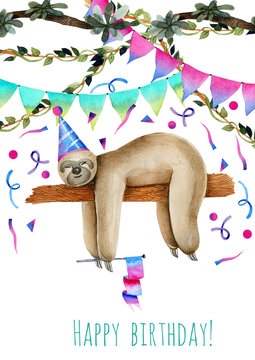 Card template with watercolor sleeping sloth, birthday card design