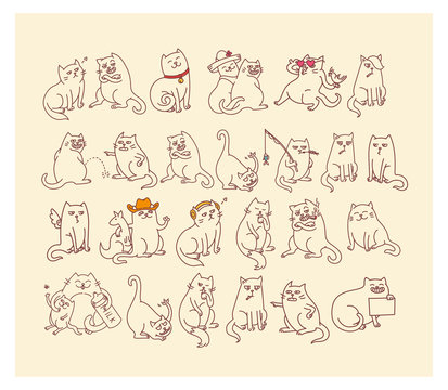 Big set of cats stickers emojis
