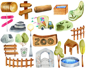Collection of watercolor elements and attributes of the zoo, hand painted on a white background