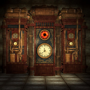 Steampunk machine room with copper pipes and rusty ducts – 3D illustration