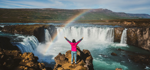 The Godafoss (Icelandic: waterfall of the gods) is a famous waterfall in Iceland. The breathtaking landscape of Godafoss waterfall attracts tourist to visit the Northeastern Region of Iceland. Fototapete