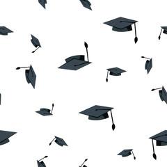 Graduation Hat Seamless Pattern Vector. School Student Black Cap. Academic Ceremony. Cute Graphic Texture. Textile Backdrop. Cartoon Background Illustration