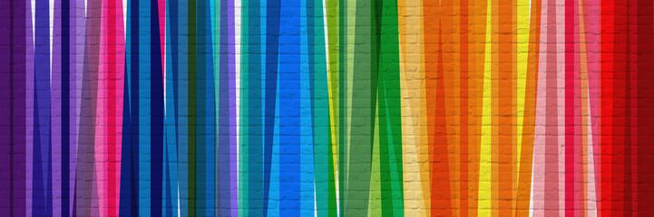 Bandes multicolores sur mur en briques Wall mural