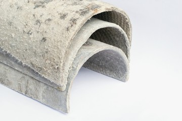 Roof covering material with asbestos fibres. Health harmful and hazards effects. Prolonged inhalation of microscopical fibers ca