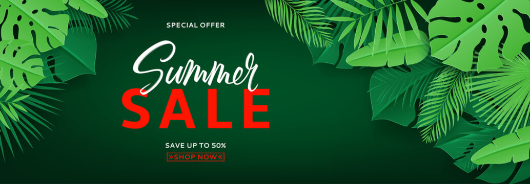 Horizontal summer banner with green tropical leaves. Vector illustration with tropical leaves in paper cut style on dark green background.