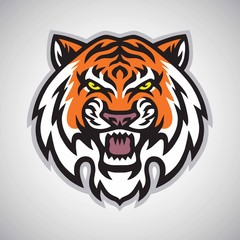 Angry Tiger Head Logo Vector Mascot Illustration