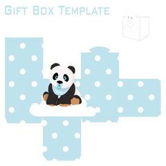 Template for baby boy panda gift box