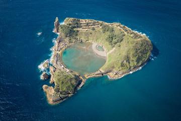 Aerial view of Islet of Vila Franca do Campo, Sao Miguel island, Azores, Portugal.