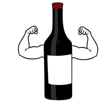 Strong wine bottle arm muscles character cartoon illustration isolated image