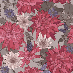 Seamless pattern chrysanthemum flowers with butterfly. Vector illustration.