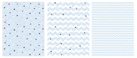 Cute Chevron and Polka Dots Vector Patterns. Iregular Dotted Repeatable Design. Light Blue Zig Zags Isolated on a White Background, Round Shape Confetti Rain. Lovely Pastel Color Layouts for Baby Boy.