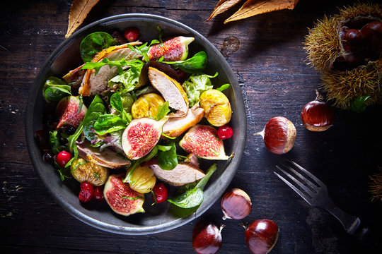Autumn salad with pheasant, figs and chestnuts