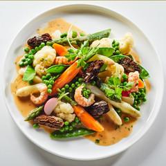 Fototapeta Speciality german called Leipziger Allerlei is salad with morel mushrooms and shrimp obraz