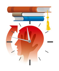 Nervous student before exams,deadline concept,cartoon.  Stylized Illustration of young man head silhouette holding his head, with watch and and books as graduation cap. Vector available.