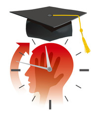 Nervous student before exams,deadline concept,cartoon.  Stylized Illustration of young man head silhouette holding his head, with watch and  graduation cap. Vector available.
