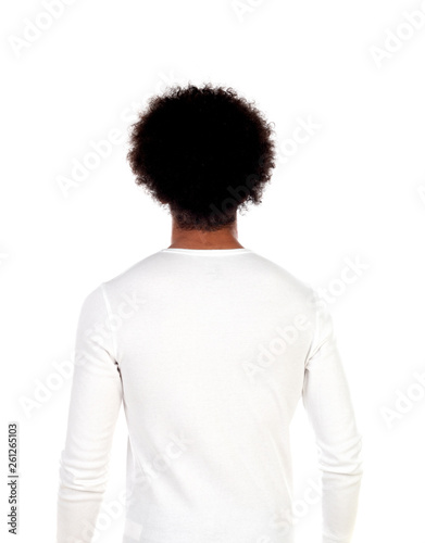 0522f0291ea1d Portrait young man with afro hairstyle posing back