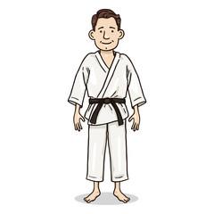 Vector Cartoon Color Character - Young Man in White Kimono